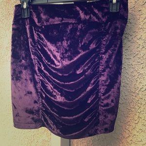 Candie's purple crushed velvet mini skirt